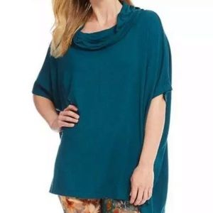 Bryn Walker Cowl Poncho Tunic Top Uccello Teal 2X
